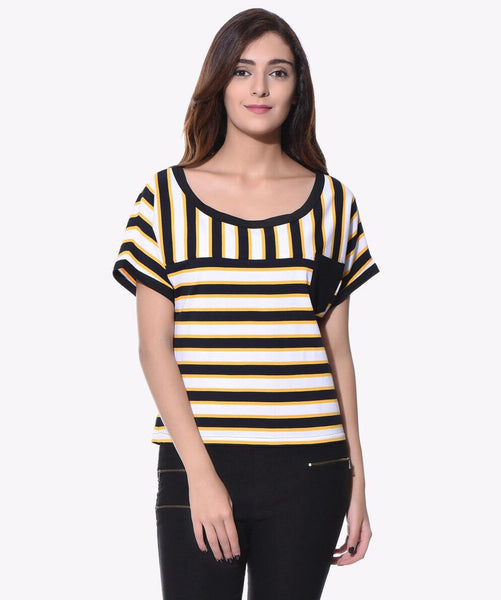 Striped Black & Yellow T-shirt (cotton) - Uptownie