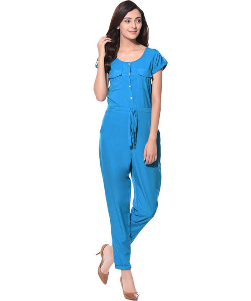 Blue Belted Button Down Jumpsuit - Uptownie