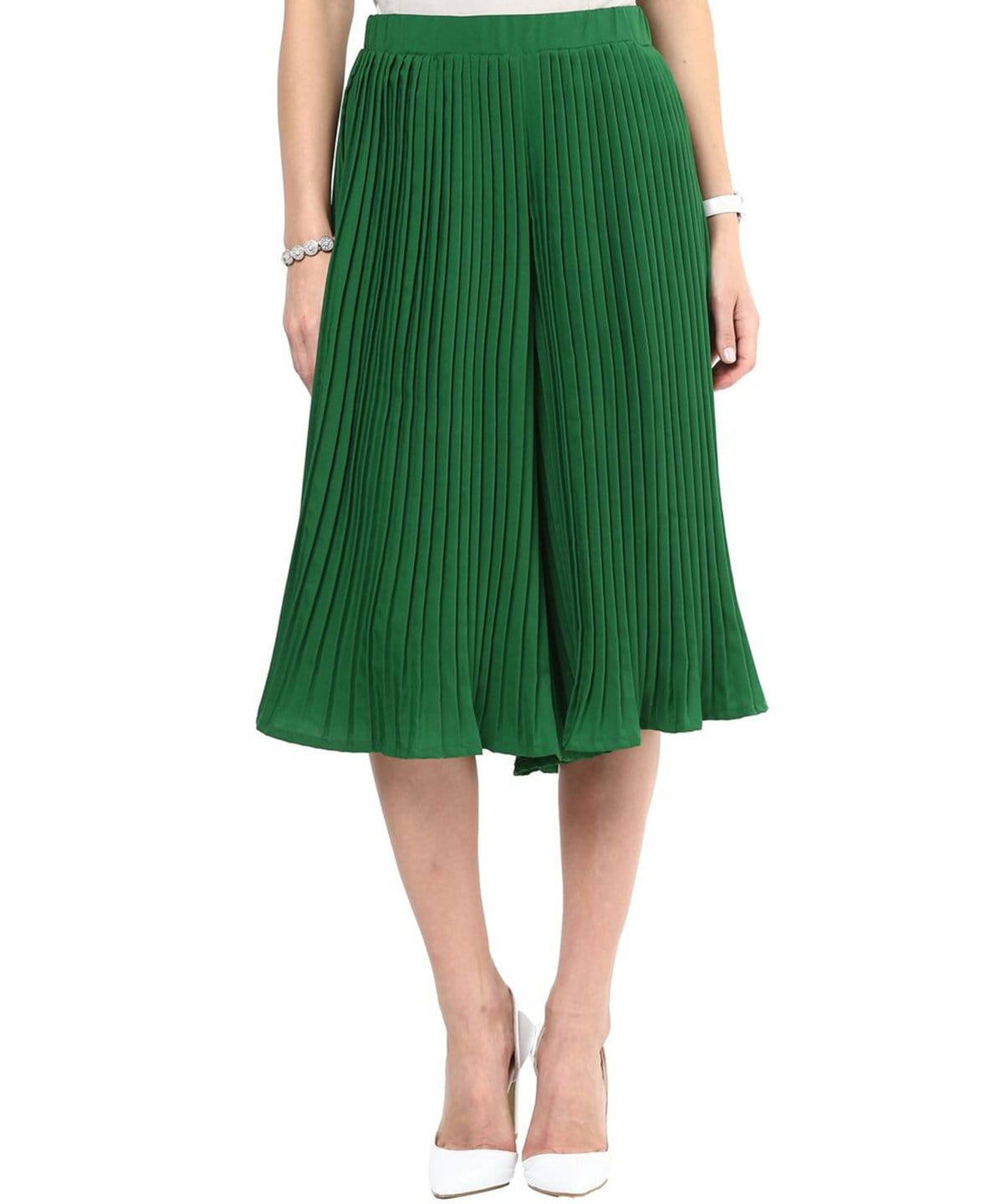 Uptownie Dark Green Pleated Culottes 1 clearance sale