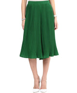 Dark Green Pleated Knee Length Culottes - Uptownie