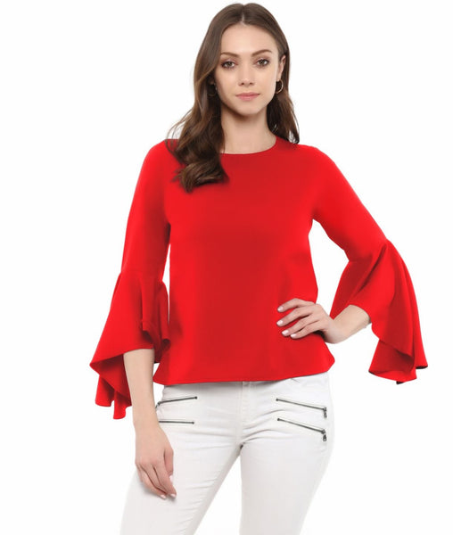 Red Solid Crepe Round Neck Bell Sleeves Top