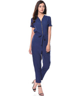 Blue Lace Shoulder Jumpsuit - Uptownie