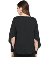 Black Solid Draped/Statement Sleeve Hi Low Top
