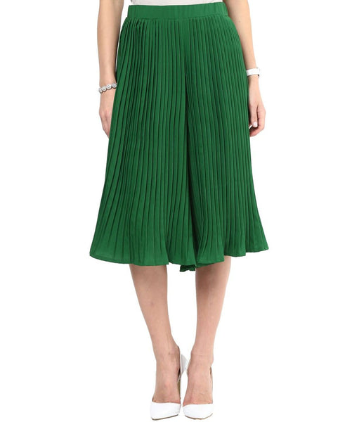 Dark Green Pleated Adjustable Culottes - Uptownie