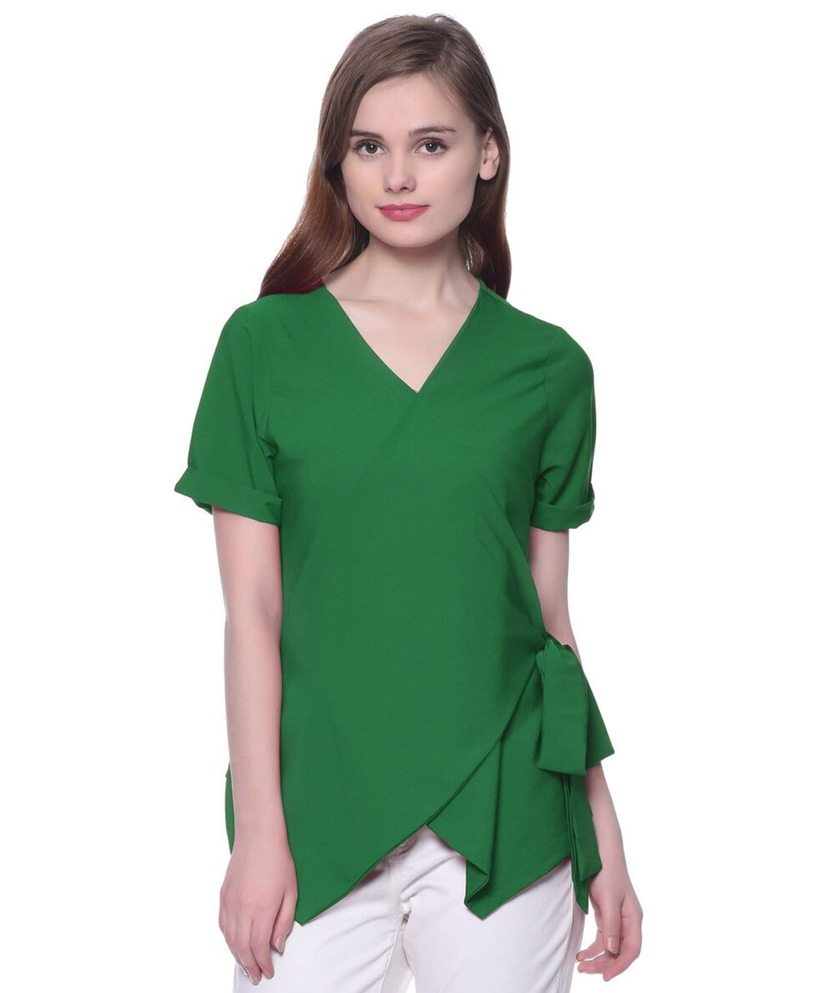 Uptownie Plus Solid Green Crepe Wrap Top 1 clearance sale