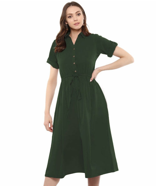 Army Green Solid Crepe Collar 3/4th Sleeves Skater Dress