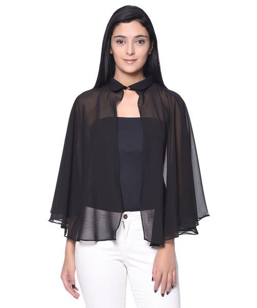 Uptownie Plus Solid Black Georgette Cape. BUY 1 GET 3