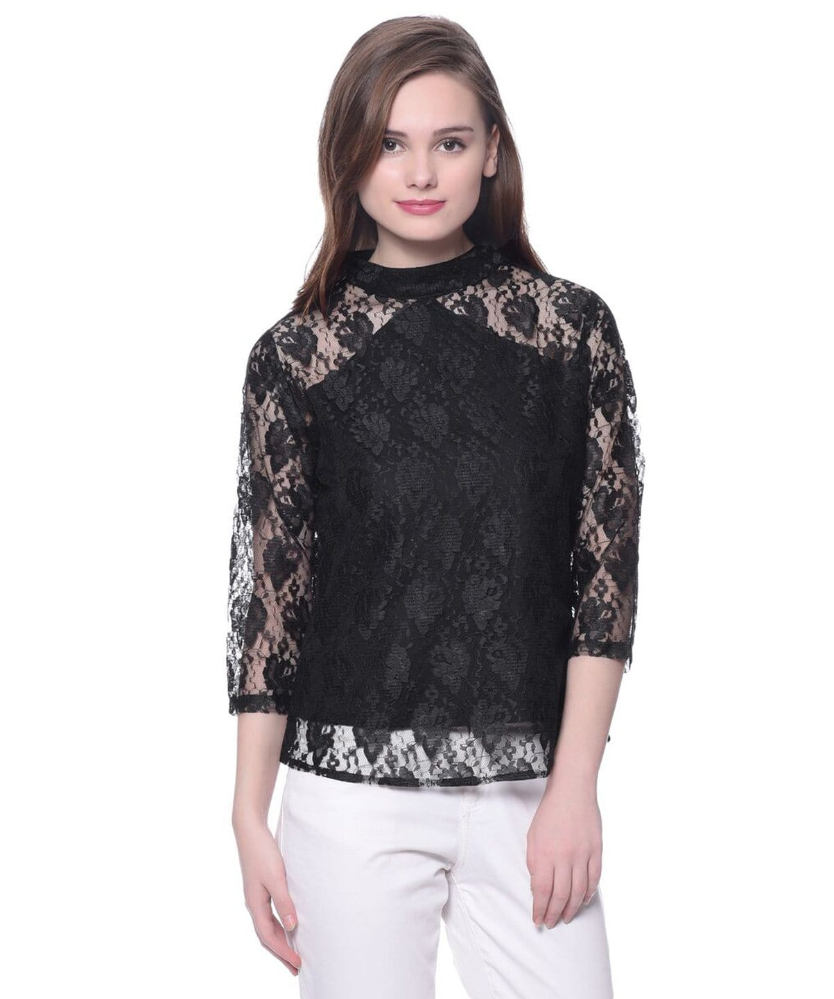 Solid Black Lace Top - Uptownie