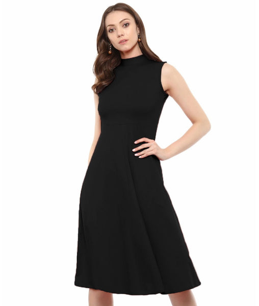 Uptownie Plus Black Solid High Neck Stretch Sleeveless Jersey/Cotton Skater Dress