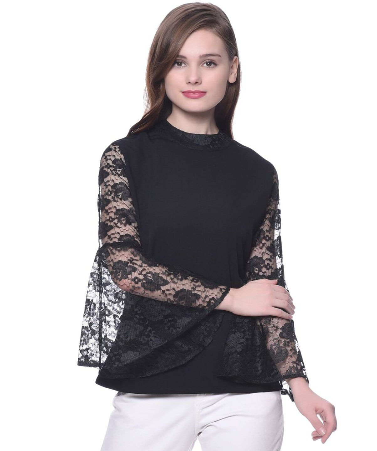 Solid Black Lace Bell Sleeves Top - Uptownie