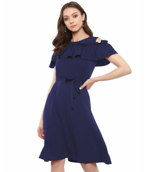 Navy Blue Solid Crepe Ruffled Cold Shoulder Skater Dress