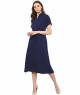 Solid Crepe Collar 3/4th Sleeves Skater Dress