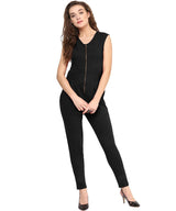 Black Solid Zipper Jumpsuit - Uptownie
