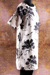 Black & White Floral Printed Satin Dress