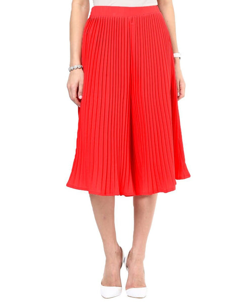 Bright Red Pleated Adjustable Culottes - Uptownie