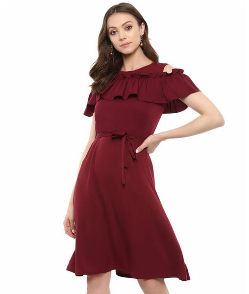 Maroon Solid Crepe Ruffled Cold Shoulder Skater dress