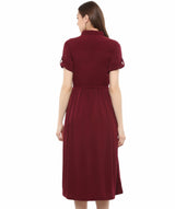 Uptownie Plus Maroon Solid Crepe Collar 3/4th Sleeves Skater Dress