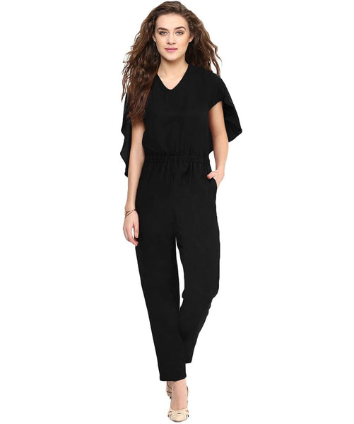 Black Back Cape Jumpsuit - Uptownie