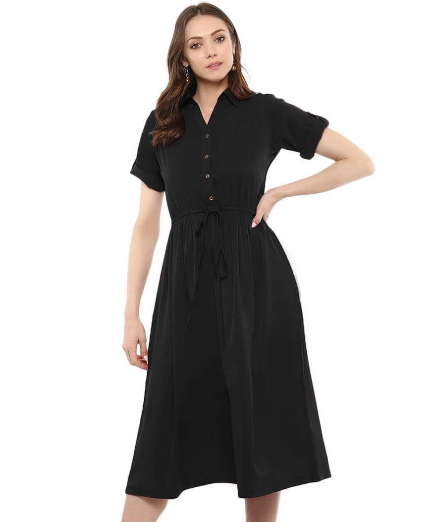 Uptownie Plus Black Solid Crepe Collar 3/4th Sleeves Skater Dress