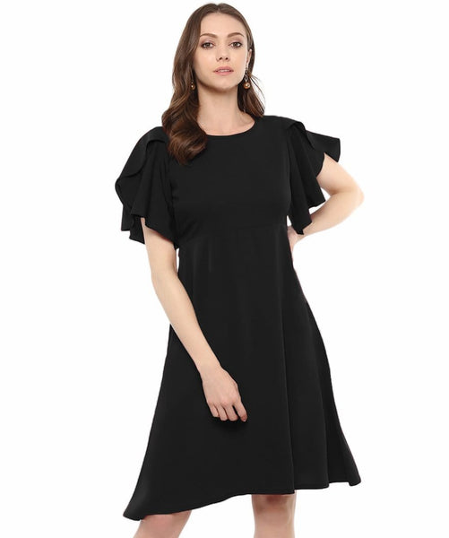 Black Solid Ruffle Sleeves Fit and Flare Crepe Skater Maternity Dress