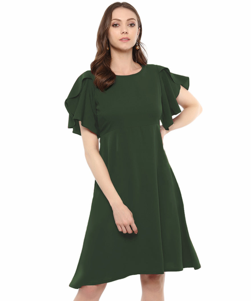 Uptownie Plus Army Green Solid Ruffle Sleeves Fit and Flare Crepe Skater Dress