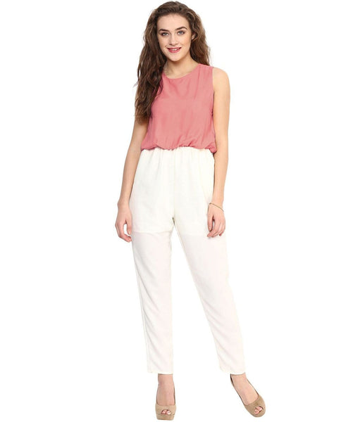 Pink White Solid Jumpsuit - Uptownie