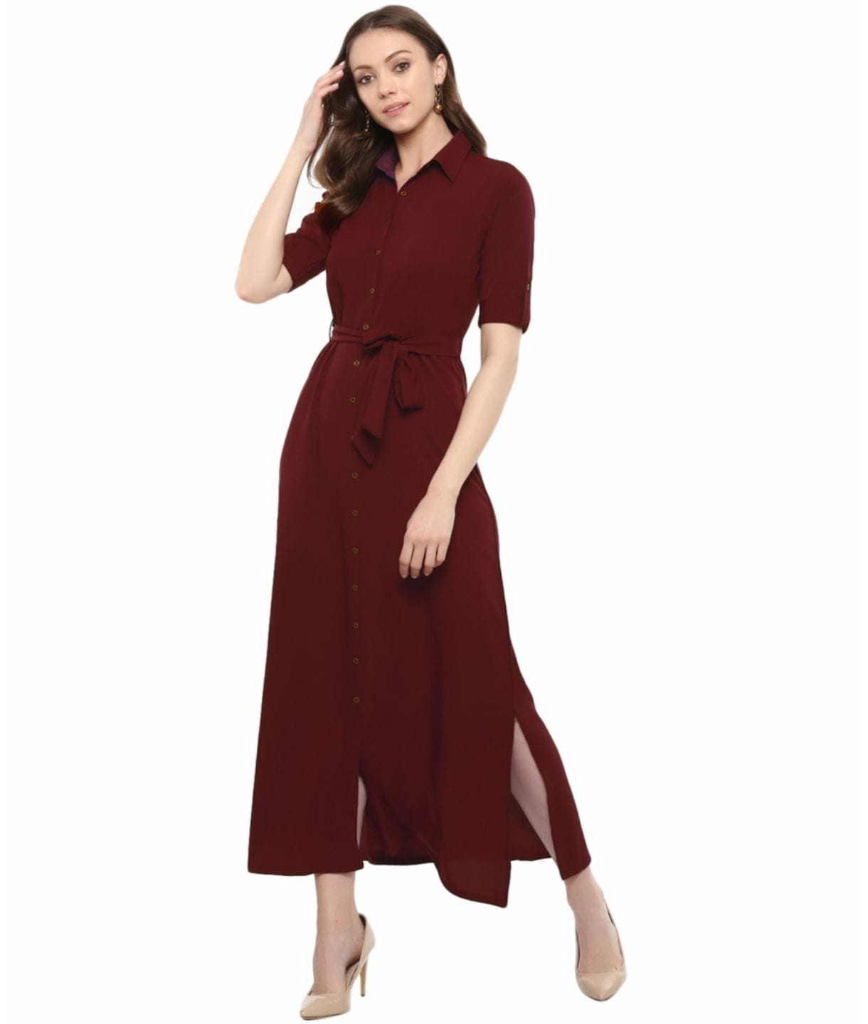 Solid Crepe Collar Buttoned Down Shirt Maxi Dress