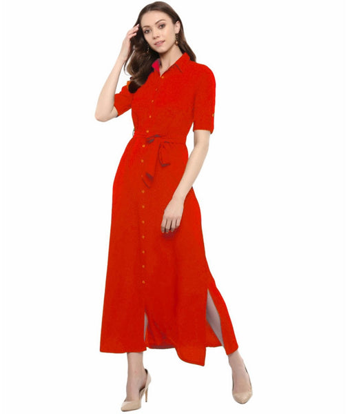 Red Solid Crepe Collar Buttoned Down Shirt Maxi Dress