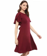 Uptownie Plus Maroon Solid Ruffle Sleeves Fit and Flare Crepe Skater Dress