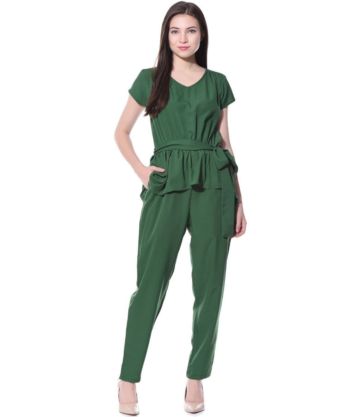 Green Solid Peplum Jumpsuit - Uptownie