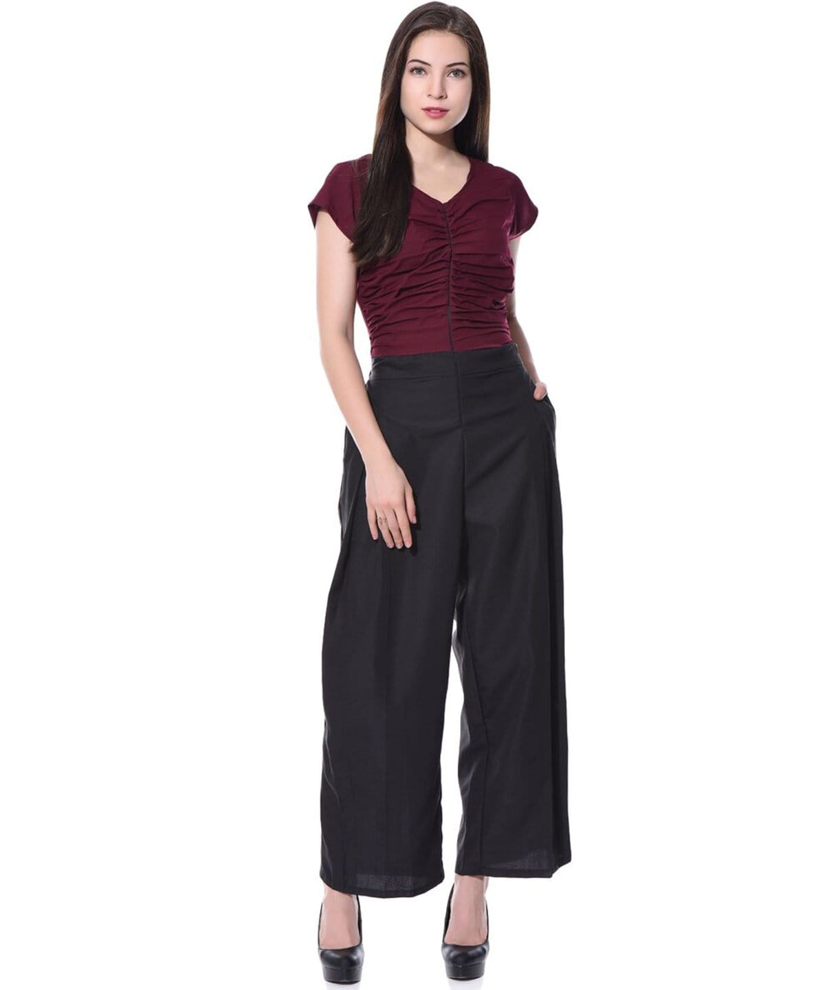 Colorblock Maroon & Black Jumpsuit - Uptownie