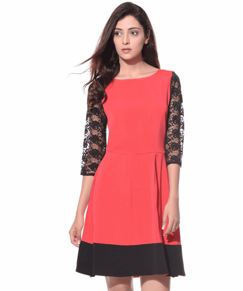Solid Coral Lace Dress - Uptownie