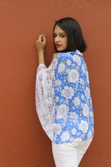 Printed Blue Lace Cape