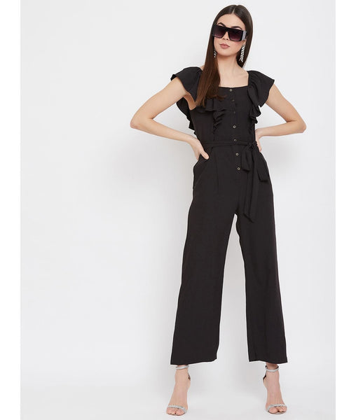 Solid Short Ruffle Sleeves Jumpsuit