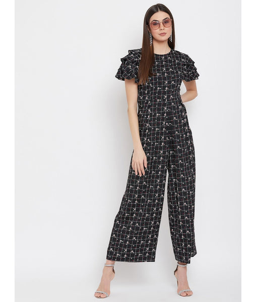 Uptownie Plus Printed Relaxed Fit Full Length Jumpsuit With Ruffled Sleeves