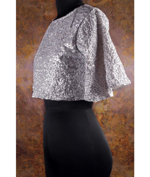 Solid Silver Sequins Cape Top