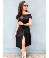 Uptownie Plus Solid Black Off Shoulder Buttoned Down Dress