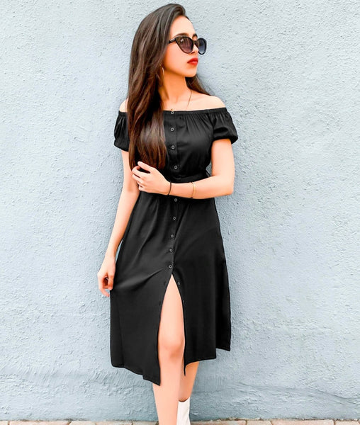 Solid Black Off Shoulder Buttoned Down Maternity Dress