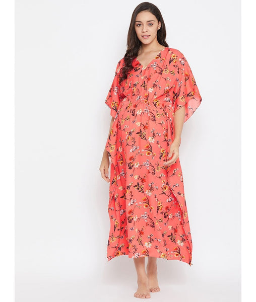 Comfortable Peach Printed Maternity Kaftan Which Doubles Up As A Nightie