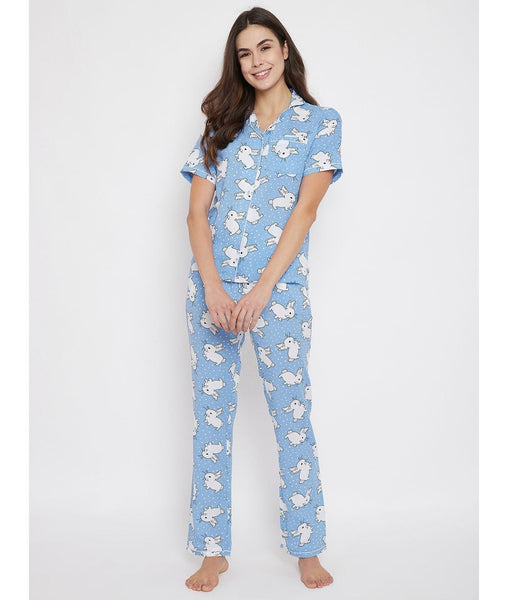 Blue Rabbit Print Night Suit