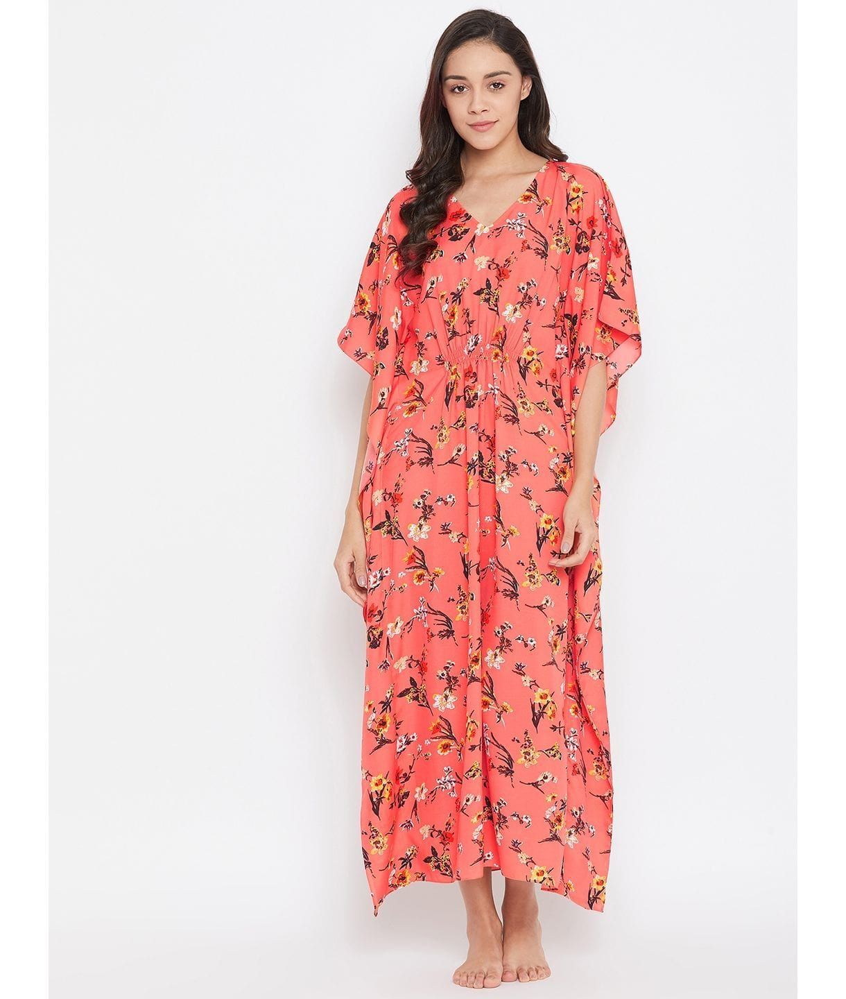 Comfortable Peach Printed Kaftan Which Doubles Up As A Nightie