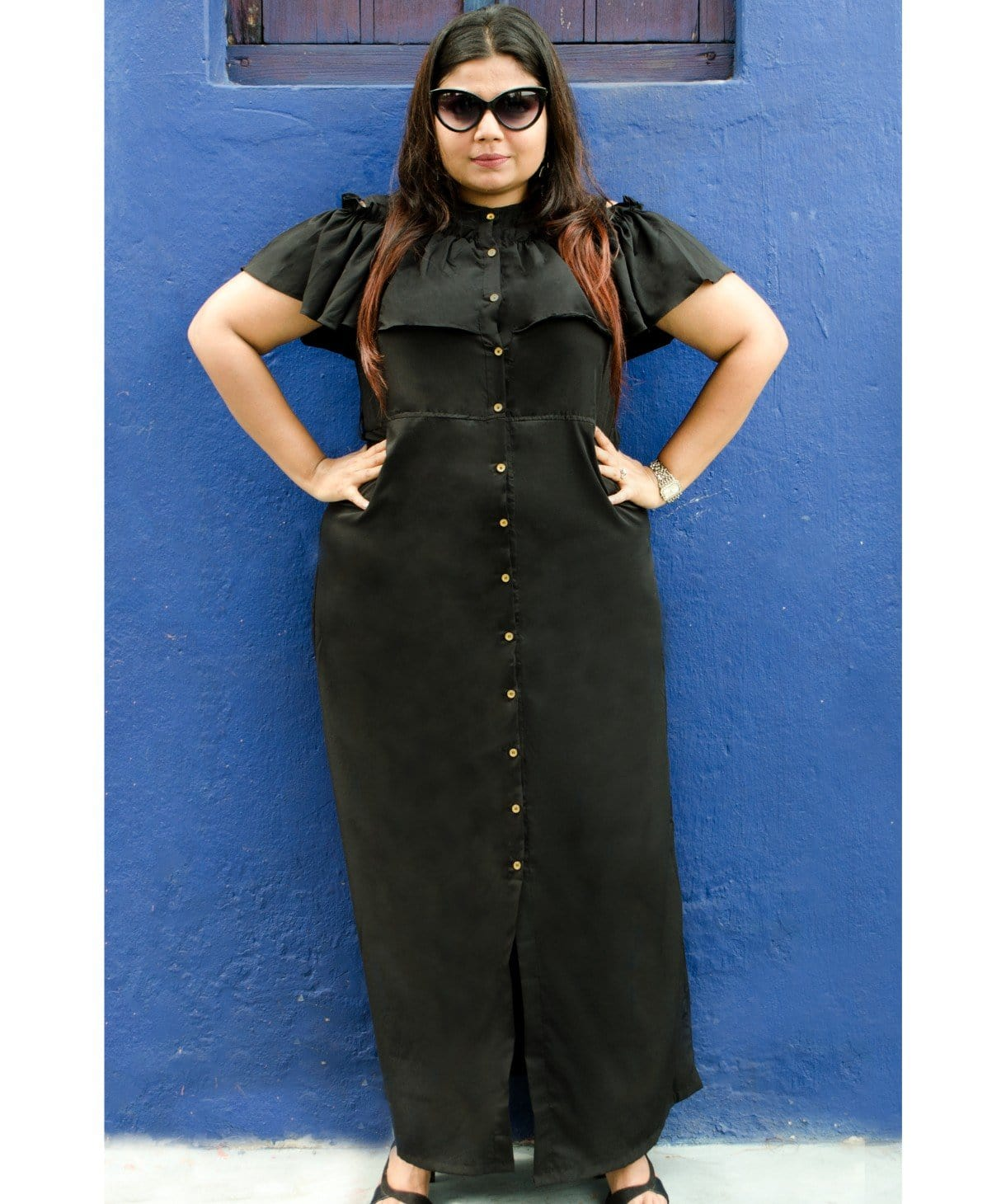 0a88d814cb867 ... Uptownie Plus Ruffled Buttoned Cold Shoulder Black Maxi Dress - Uptownie  ...