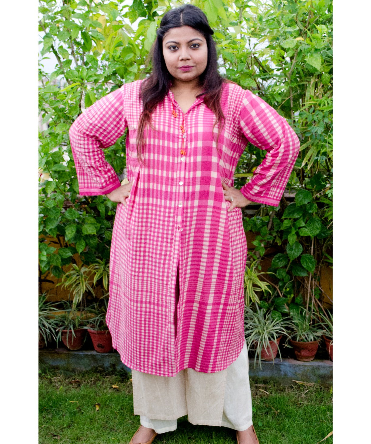 Uptownie Plus Pink Handloom Cotton Check Kurti - Uptownie