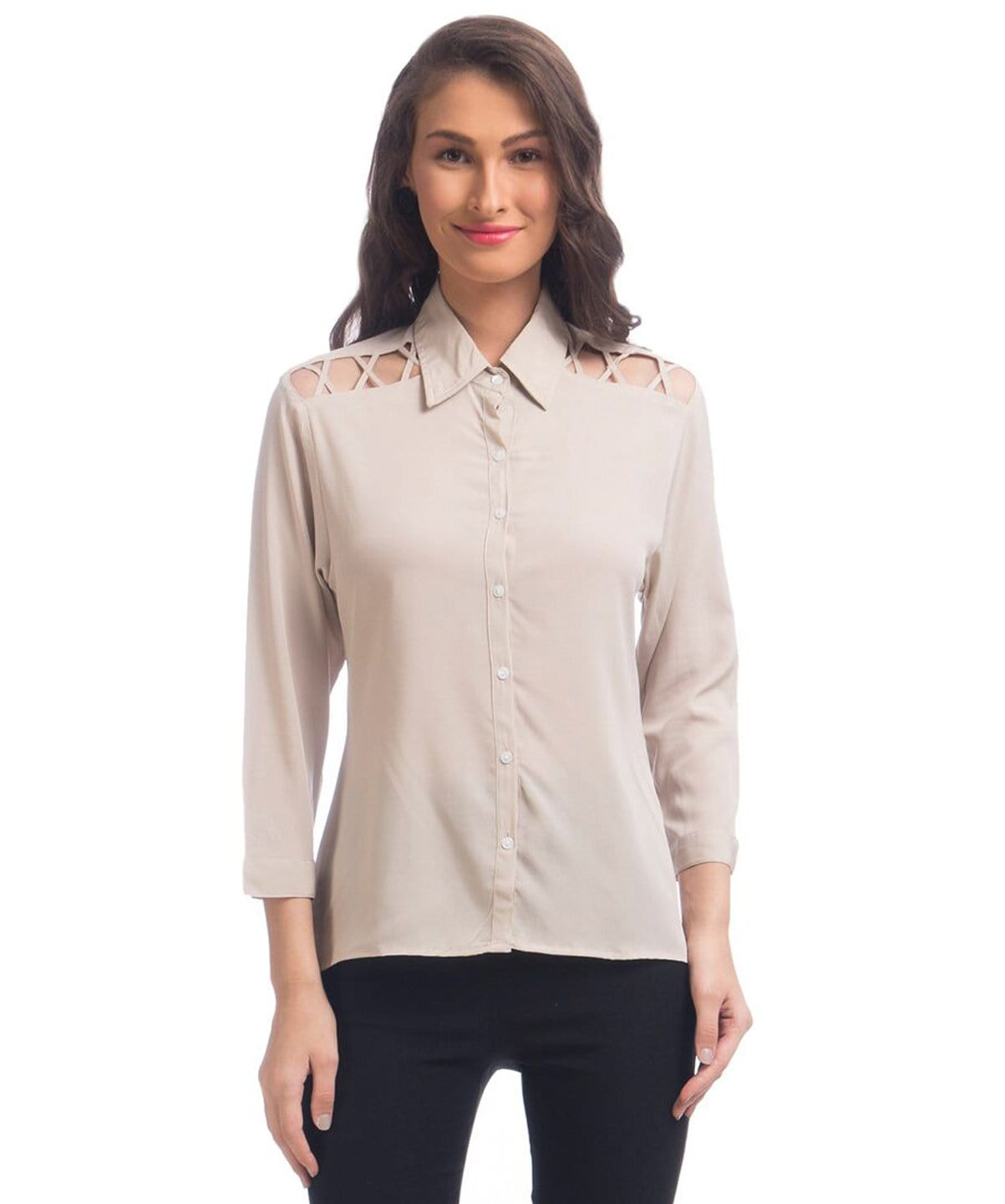 Solid Beige Button Down Crepe Shirt - Uptownie