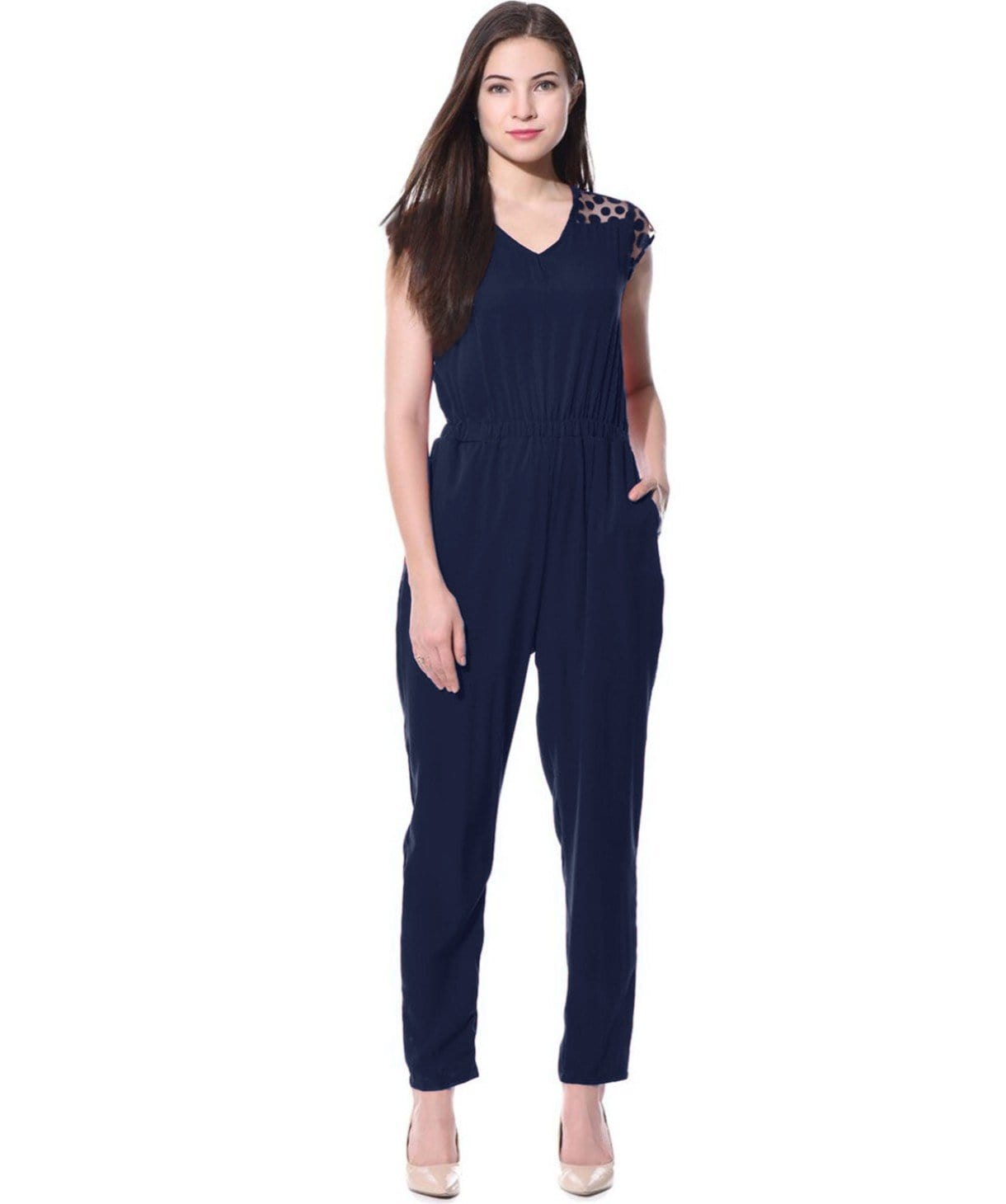 Navy Blue Polka Lace Detailed Jumpsuit - Uptownie