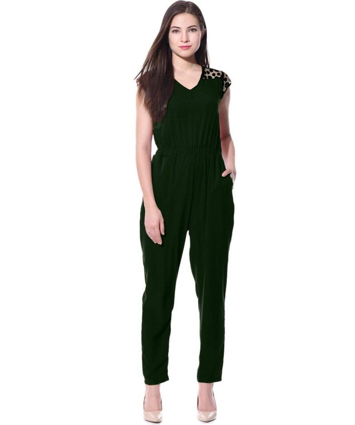 Green with Black Polka Lace Detailed Jumpsuit - Uptownie