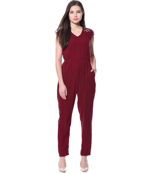 Solid Maroon Polka Sleeves Jumpsuit - Uptownie