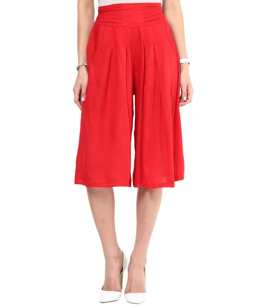 Red Rayon Adjustable Culottes - Uptownie