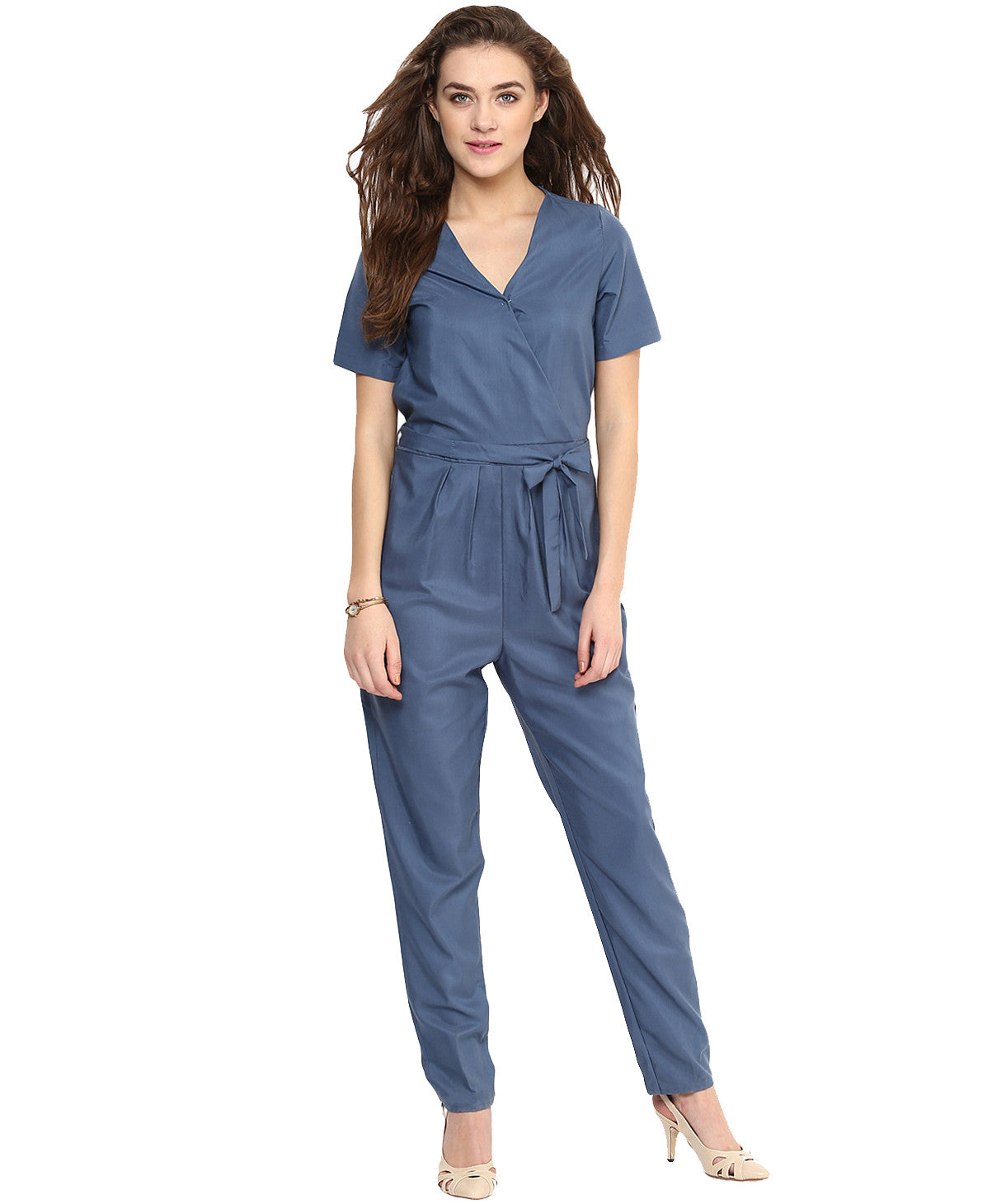 Blue Wrap Jumpsuit