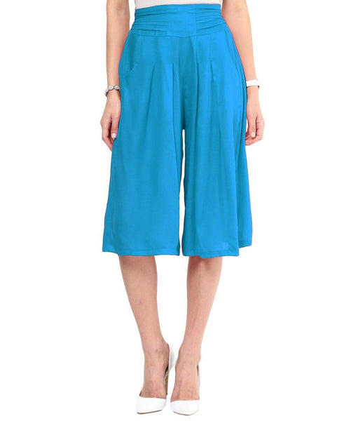 Turquoise Blue Rayon Adjustable Culottes - Uptownie